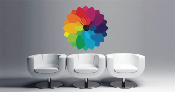Color Bloom clock wall decal
