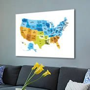 Colored USA Map wall canvas