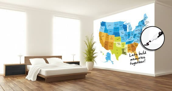 Dry Erase USA Map Wall Decals Colored | Dezign With a Z