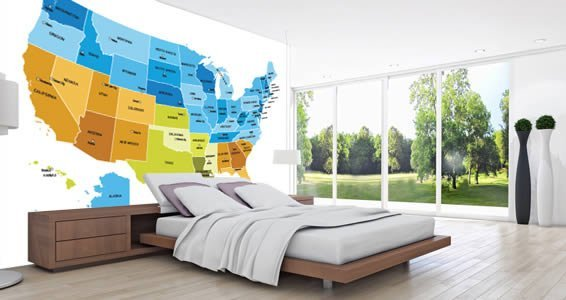 Dry Erase USA Map Wall Decals Colored Dezign With A Z - Colored usa map