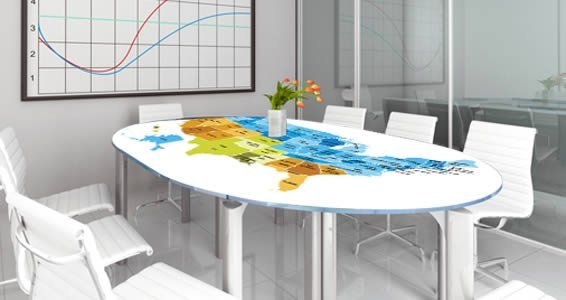 Dry Erase USA Map Wall Decals Colored