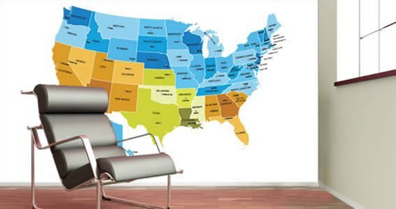 Dry Erase USA Map Wall Decals Colored Dezign With A Z - Us map wall decal