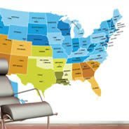 Colored USA map Dry Erase Decal Skin