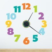 Colorful Clock wall decal (mechanism included)