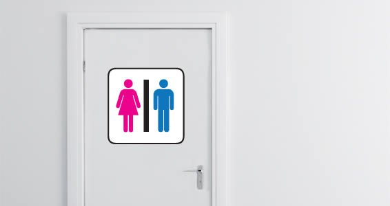 Common Restroom Sign decal