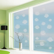 Coral frosted glass window decals