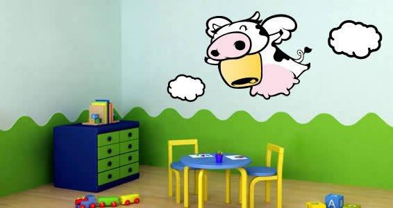 Flying Cow Wall Stickers By Zaz Dezign With A Z