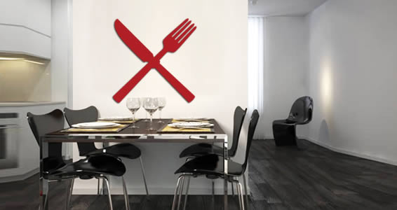Crossed Cutlery wall appliques