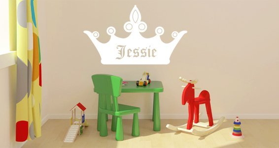 Personalized Lettering Crown Wall Decals