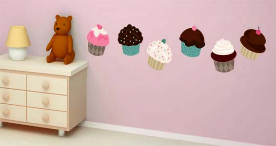 Cupcake wall decals cupcake wall decor for Cupcake wall art