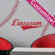 Custom Lettering Baseball Stitches decal