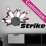 Bowling Strike personalized wall decals