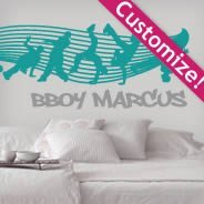 Custom Break Dance Crew lettering wall decals