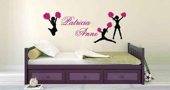 Cheerleaders personalized wall decals