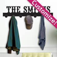Personalized  Lettering Coat Rack wall decals