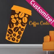 Lettering Coffee Cup personalized wall decals
