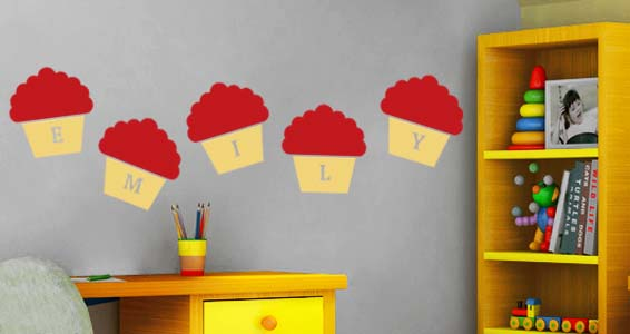 Personalized  Lettering Cupcake wall Stickers