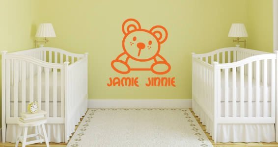 Lettering Cute Line Bear personalized wall stickers