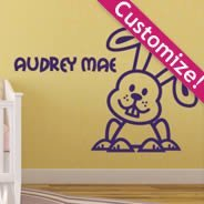 Personalized  Lettering Cute Line Bunny wall decals