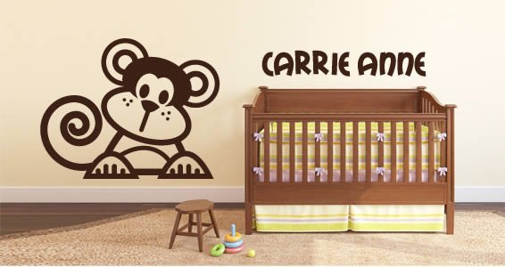 Lettering Cute Line Monkey Personalized Wall Decals