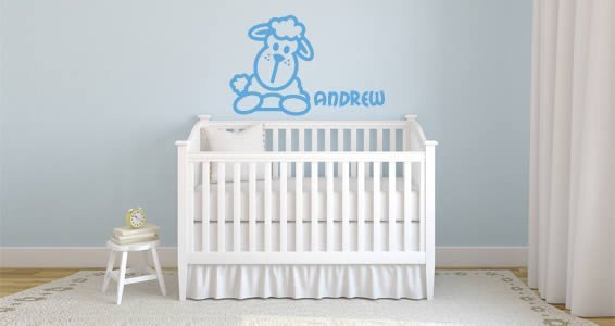 Custom Lettering Cute Line Sheep wall decals