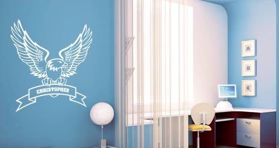 Personalized  Lettering Eagle wall decals