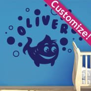 Personalized  Lettering Fishy Fish wall decals