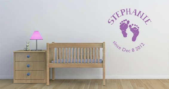 Personalized Baby Footprint Lettering Wall Decals