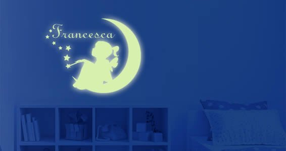 Custom Glow Moon Girl wall decal