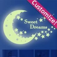 Moon Stars Glow in the Dark wall decals