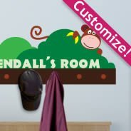 Custom Hanging Monkey wall decals coat rack