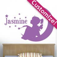 Custom Lettering Moon Girl wall stickers