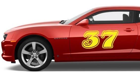 Custom number car decals