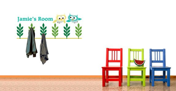 Personalized Owls in Flight rack wall decals