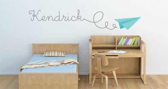Paper Plane personalized wall decals