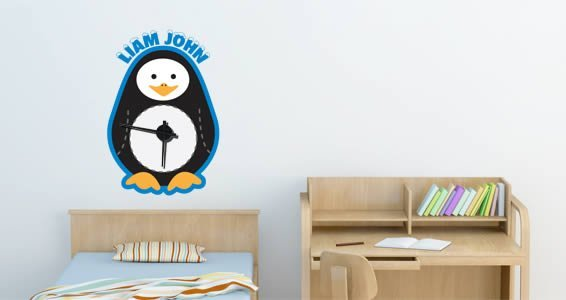 Custom Penguin  wall decal clock