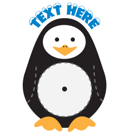 Custom Penguin  wall decal clock