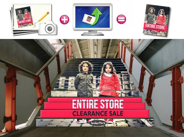 custom decals for your commercial retail stairs