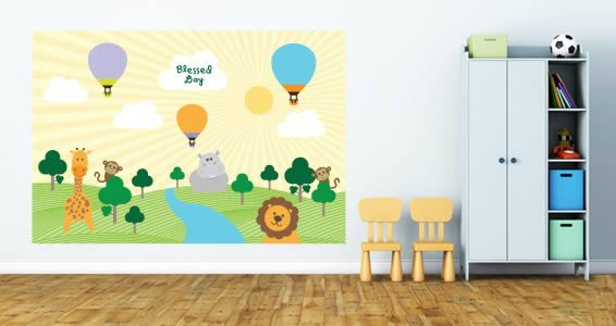 Jungle Animals And Hot Air Balloons Nursery Wall Decals Dezign - Nursery wall decals animals