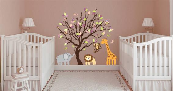Animal Tree Nursery Wall Decals