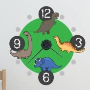 Cute Dino clock wall decal