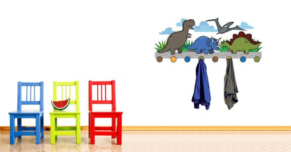 Cute Dino Coat Rack decals