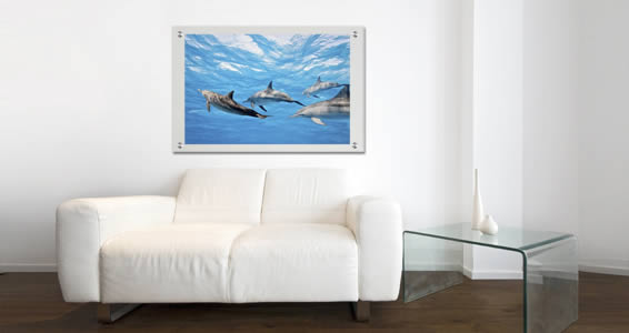 Ocean Dolphins Plexiglass Stand Off