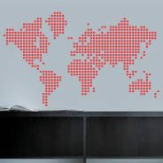 Dots World Map wall decals