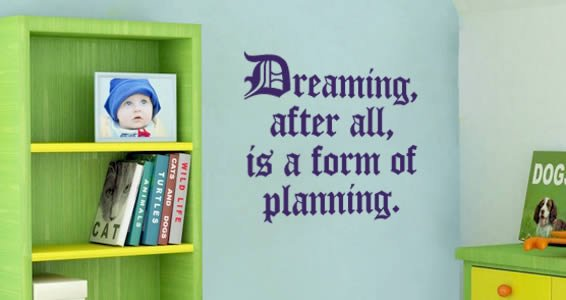 Dreaming Planning wall quote decals