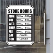 Dry Erase Store Hours decal