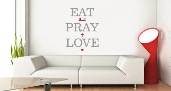 Eat Pray & Love quote wall decals