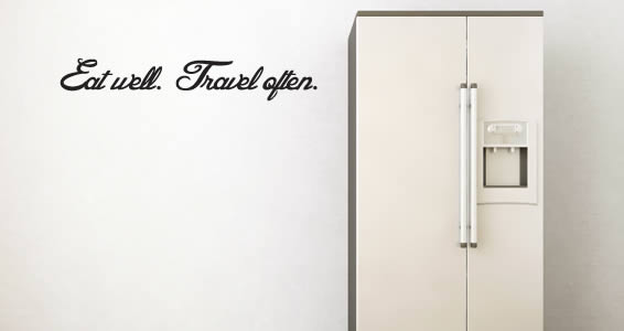 Eat Well Travel Often quote decal