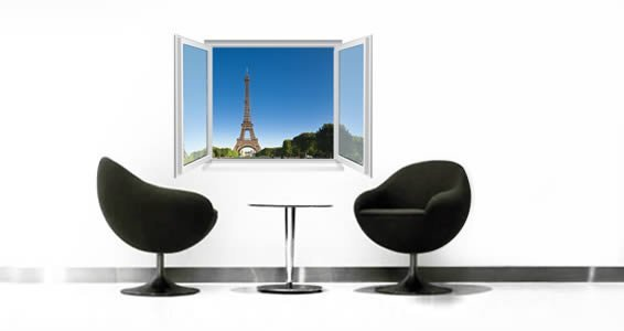 Paris Eiffeil Tower Faux Window Murals