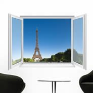 Paris Eiffeil Tower Faux Window Murals